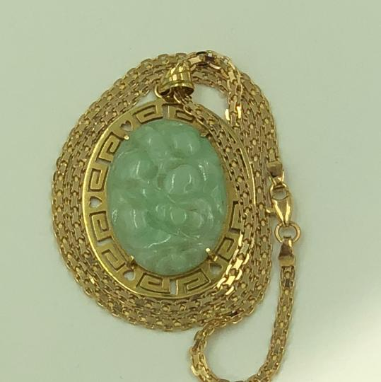 14KT Gold Greek Key Hole Carved Green Jade Necklace Greek Key Hole & Heart Carved Green Jade Pendant & Flat Chain Necklace Image 3