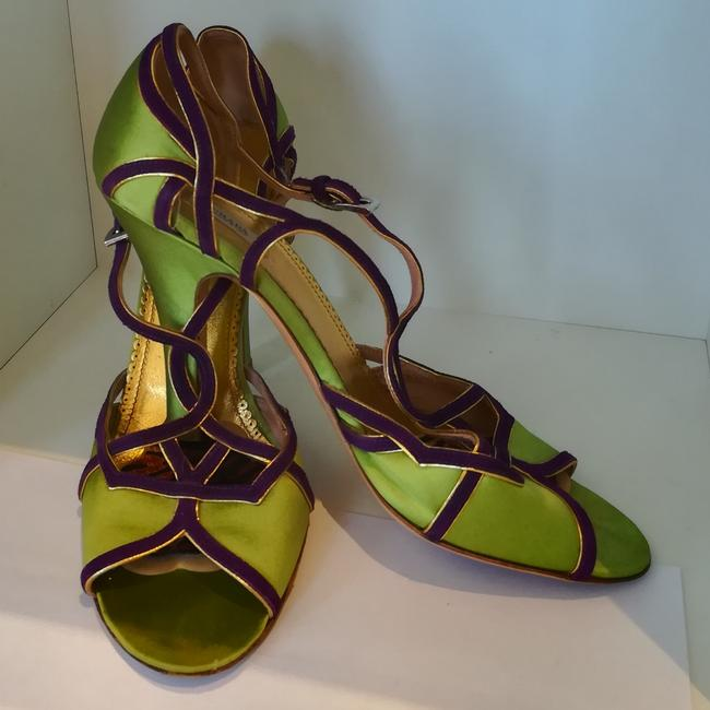 Item - Bright Green and Purple Peeptoe Formal Shoes Size EU 38 (Approx. US 8) Regular (M, B)