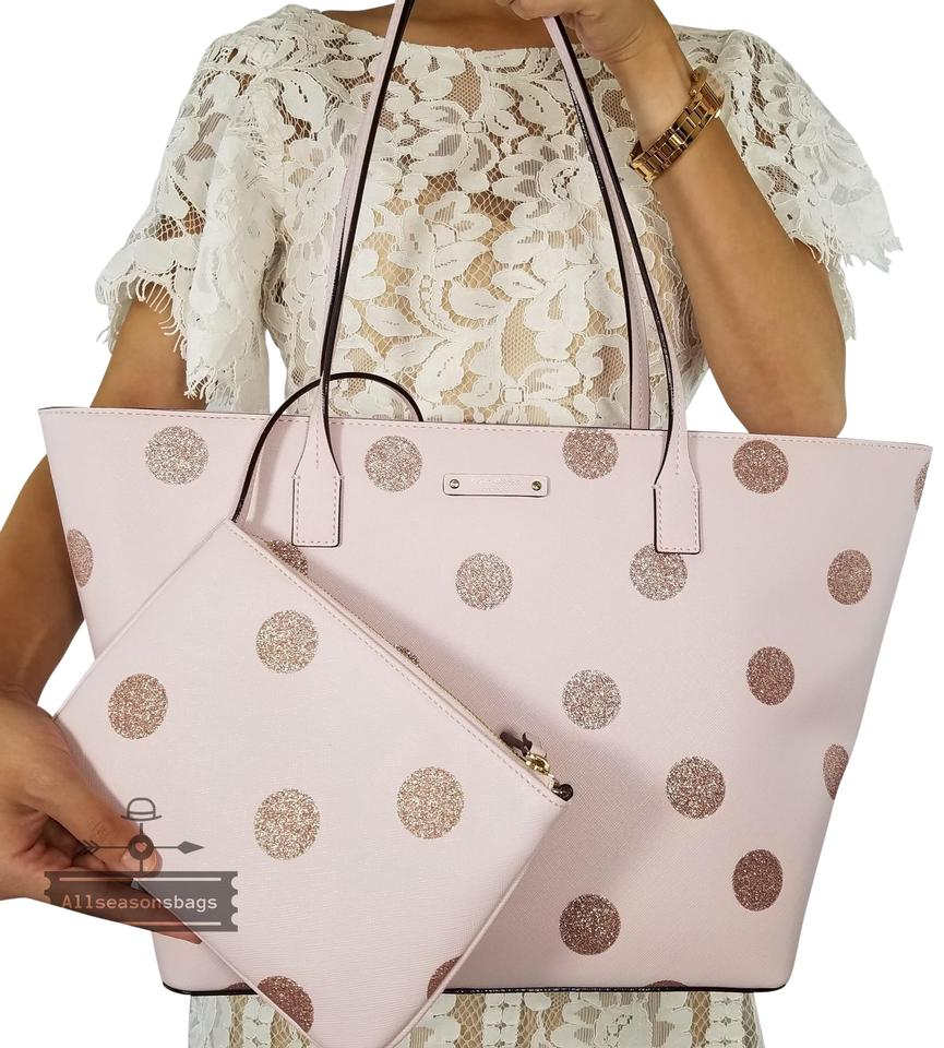 Kate Spade Tote In Pink Glitter Polka Dots