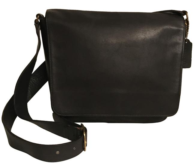 Item - Museum Collection 4127 Vintage Black Gold Leather Cross Body Bag