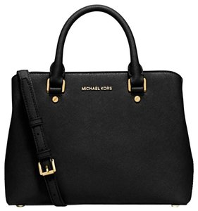 Michael Kors Savannah Medium Saffiano Leather Satchel in Black