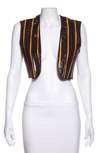 Item - Brown & Yellow Paneled Leather Vest Size 4 (S)