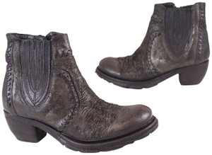 A.S. 98 Western Weathered Distressed Chelsea Metallic Nero Boots