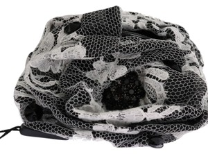 Dolce&Gabbana D1141 Women's Black White Floral Lace Crystal Hair Claw