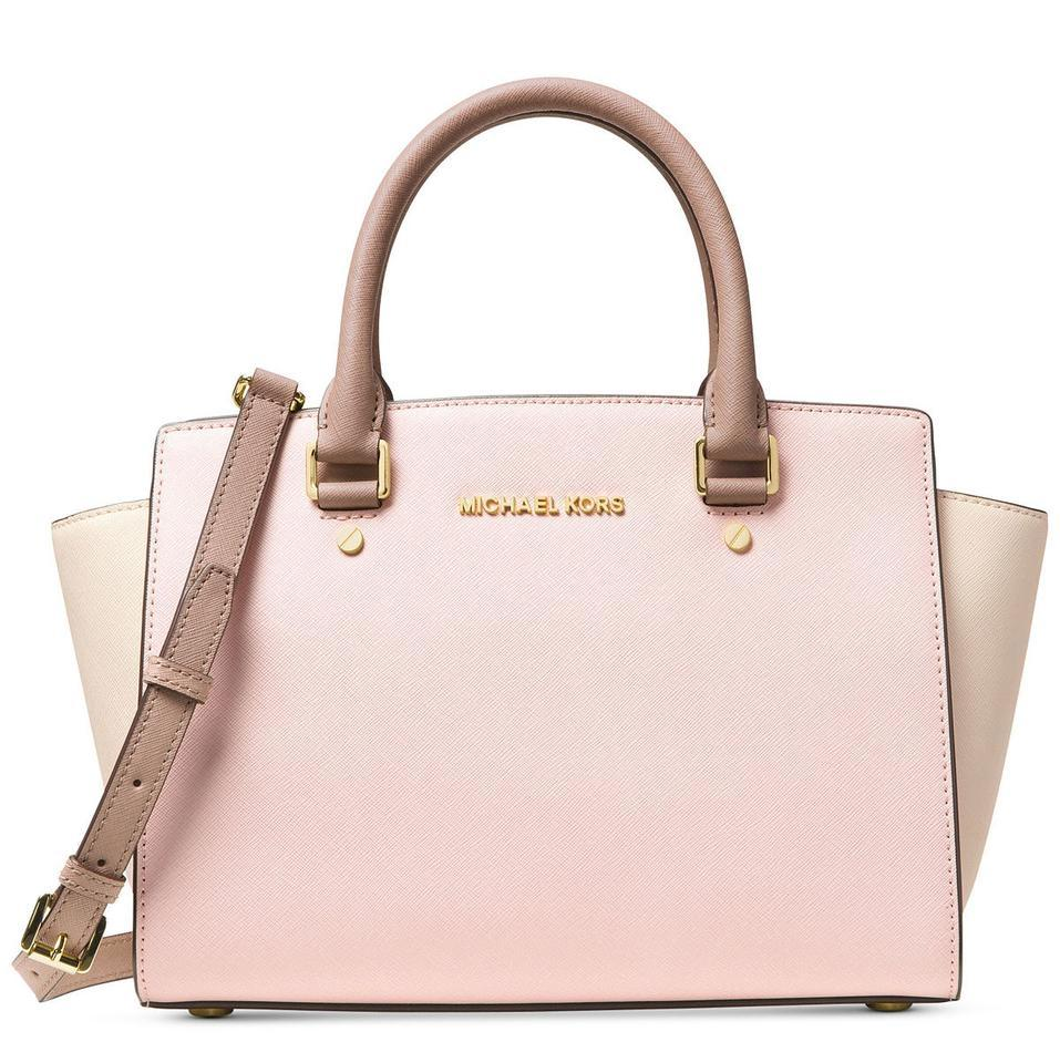4362b997294b Michael Kors Selma Medium Top Zip Satchel in Soft Pink/Ecru/Fawn Image 0 ...