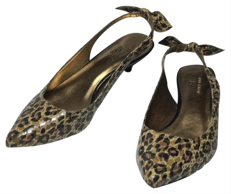 f291194403e AK Anne Klein Brown  Black Multi Leopard Kitten Heel Slingbacks Pumps