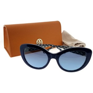 b6a96bc3ff9 Tory Burch TY7121-17508F-55 Cat Eye Women s Navy Frame Grey Blue Lens  Sunglasses