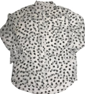 Equipment Polka Dot Button Down Shirt White|Black