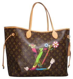 Louis Vuitton Limited Edition Murakami Gm Moca Neverfull Tote in Brown