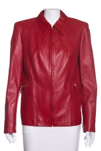 Escada Red Leather Jacket
