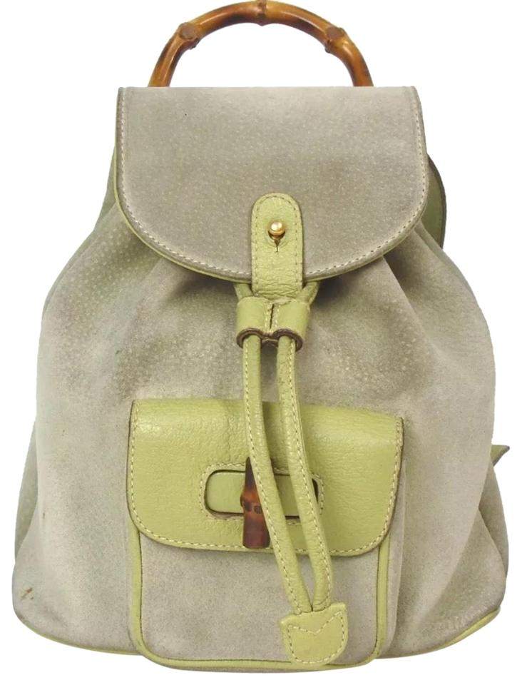 c68f41e52991 Gucci Bamboo Mini Light Green Suede Leather Backpack - Tradesy