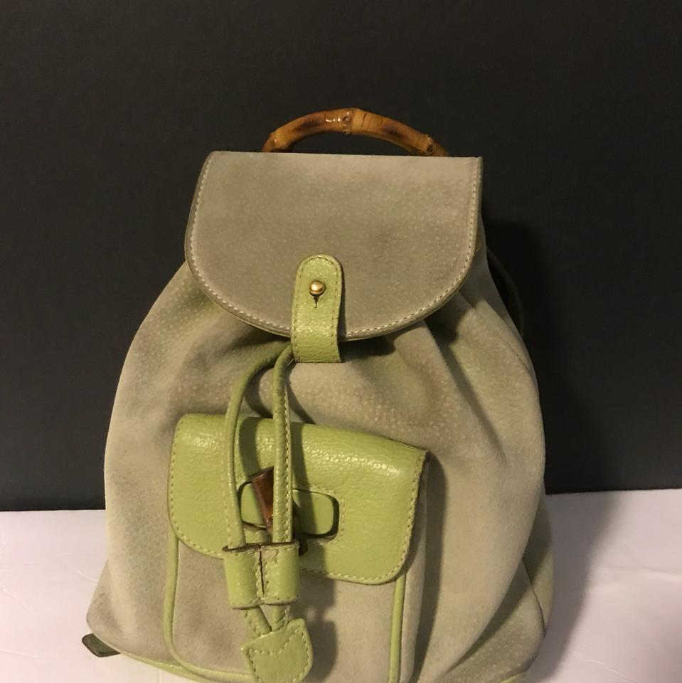 23d5e7338 Gucci Bamboo Mini Light Green Suede Leather Backpack - Tradesy