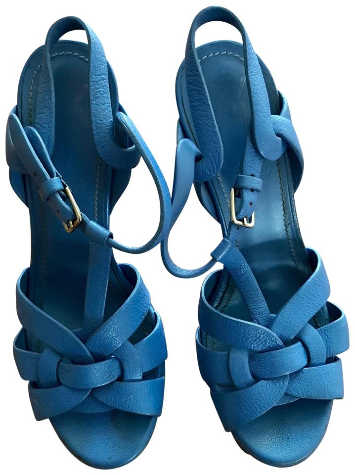 86d8c0ae0 Saint Laurent Blue Tribute Ysl Yves Platform 105mm Sandals. Size  EU 35.5  ...