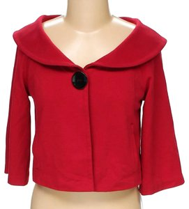 Newport News 3/4 Sleeve Blouse One Button Blazer Cropped Blazer Blazer red Jacket