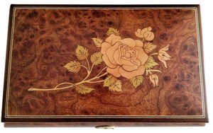 Rouge Rouge Floral Theme Wood Inlay Musical Jewelry Box F. Chopin