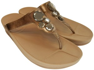 FitFlop Thong Stones Leather Metallic Gold Sandals
