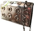 Michael Kors Collection Clutch Clutch/Crosby Metallic/Gray Ayers Snakeskin Leather/Suede Inside Cross Body Bag Michael Kors Collection Clutch Clutch/Crosby Metallic/Gray Ayers Snakeskin Leather/Suede Inside Cross Body Bag Image 3