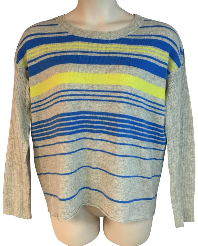04052a687 DUFFY Stripes Cashmere Knit Light Gray Sweater - Tradesy