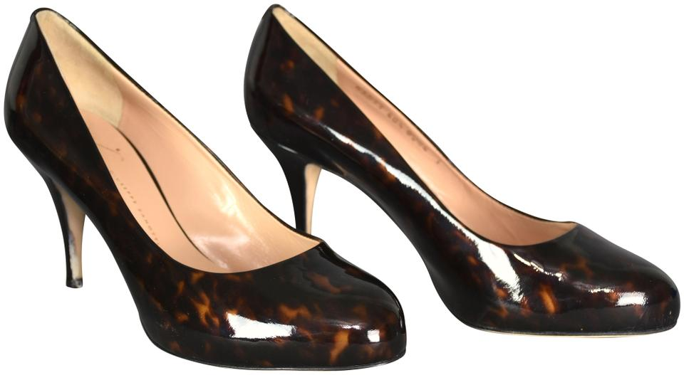 giuseppe zanotti tortoise patent leather with black heels pumps size rh tradesy com