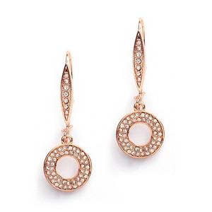 Mariell Abstract Rose Gold French Wire Pave Earrings For Bridal Or Prom 4116e-rg