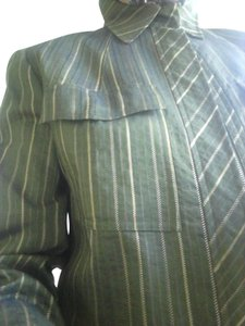 Lafayette 148 New York Relaxed Fot Long Sleve Front Zip With Flap Made I Usa green Jacket