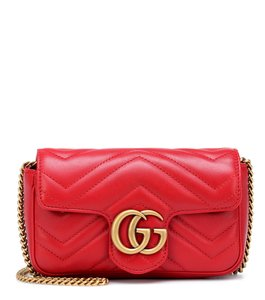 edef07082c6c Added to Shopping Bag. Gucci Shoulder Bag. Gucci Camera Marmont Gg  Matelassé Mini Chain Red Leather ...
