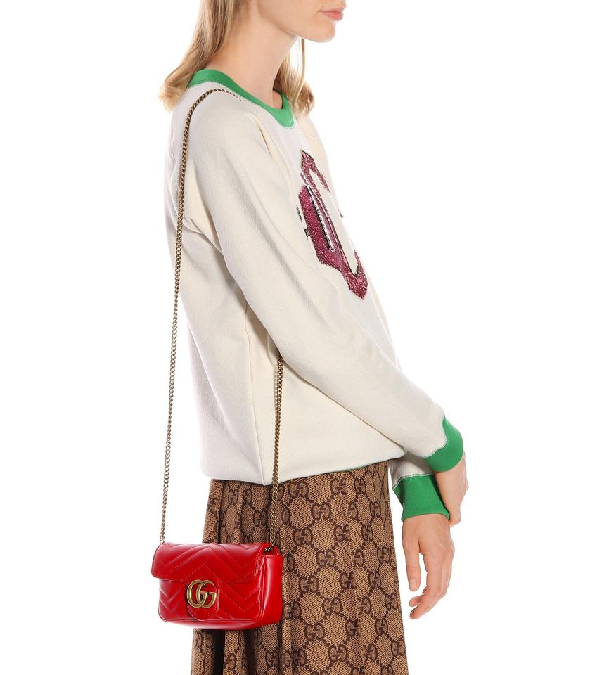 fe6ab3e8df8a Gucci Camera Marmont Gg Matelassé Mini Chain Red Leather Shoulder Bag -  Tradesy
