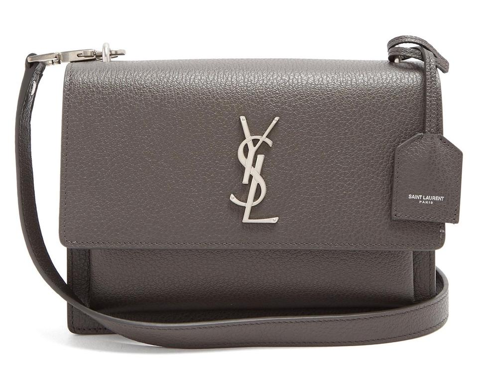 Saint Laurent Monogram Sunset Medium Dark Concrete Grey Calfskin Leather  Cross Body Bag 5cc65a7d86f49