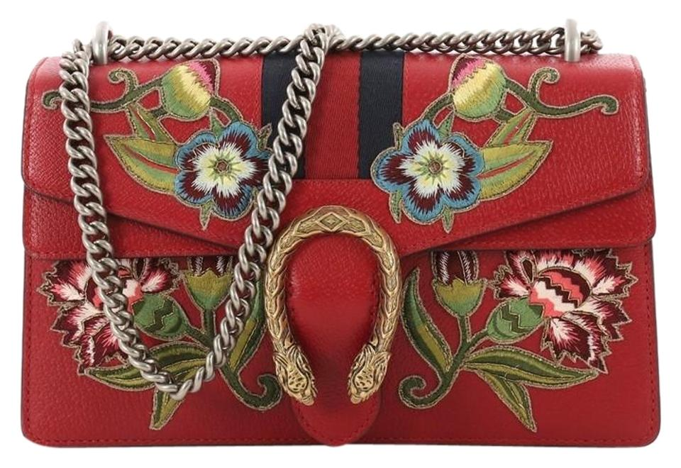 51119fb391ca84 Gucci Dionysus Web Handbag Embroidered Small Red Leather Shoulder ...