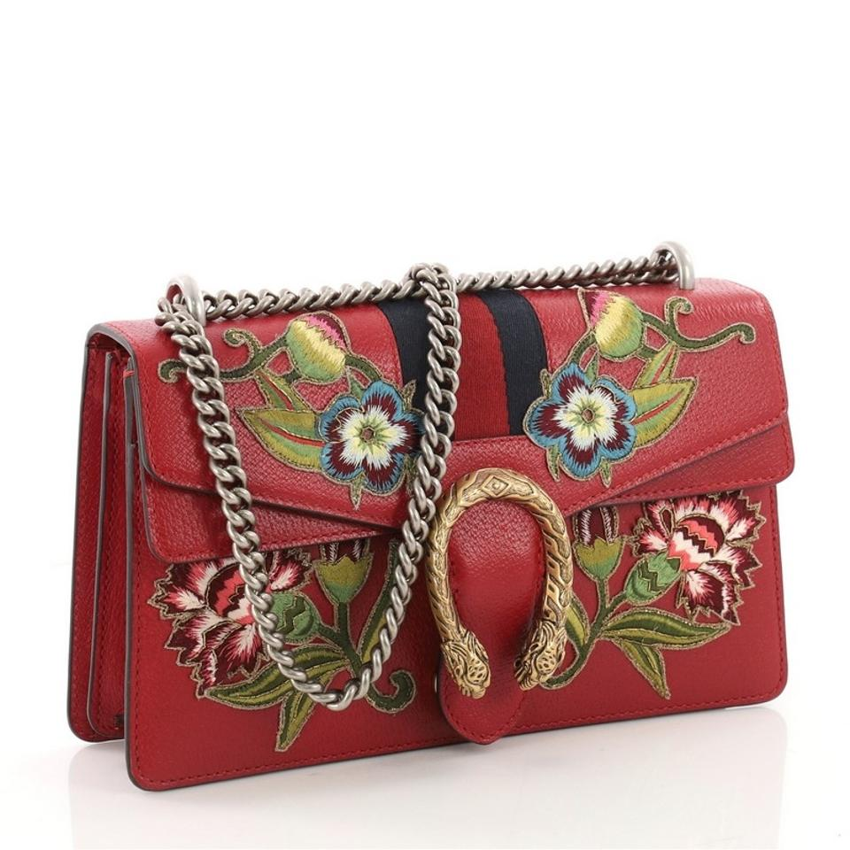 860b617e432a1d Gucci Dionysus Web Handbag Embroidered Small Red Leather Shoulder Bag -  Tradesy