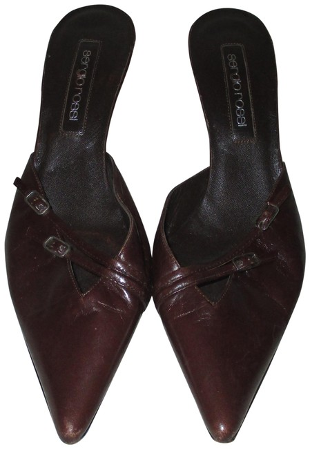 Item - Brown Leather with Buckle Designs Mules/Slides Size EU 39 (Approx. US 9) Regular (M, B)