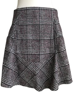 Carven Mini Skirt burgundy, black and ivory