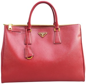Prada Saffiano Calfskin Tote in red