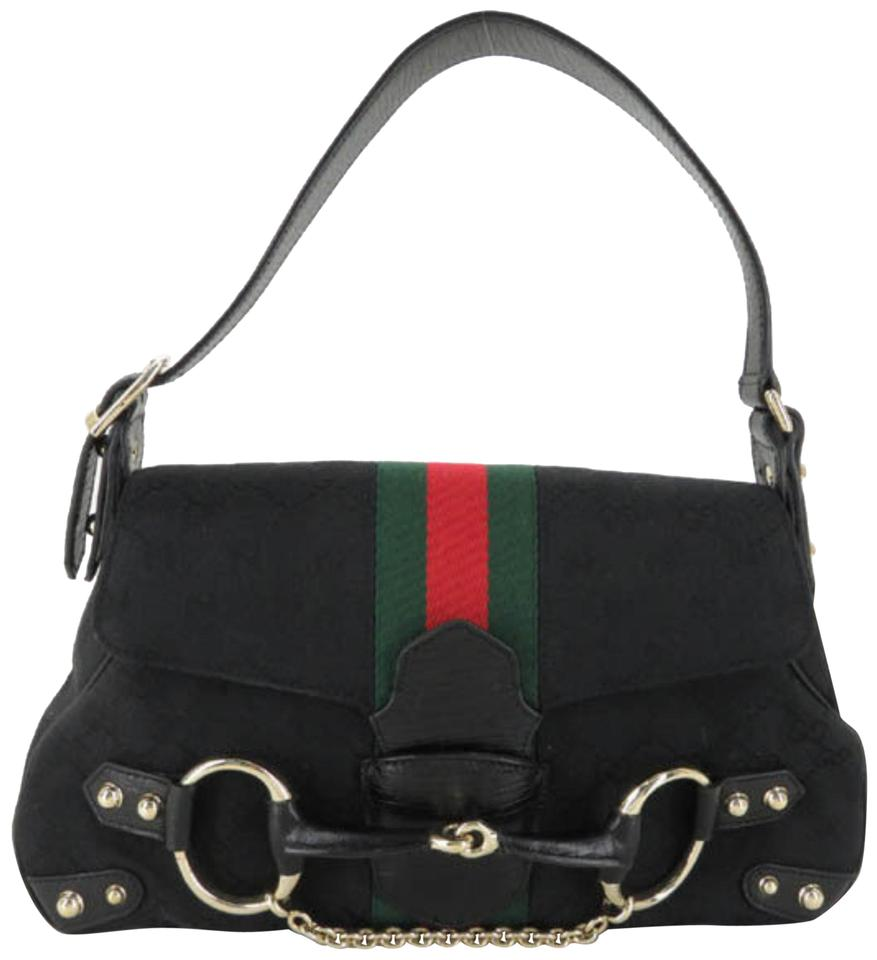 3f61cc29ece Gucci Horsebit Sherry Web Chain Flap 867901 Black Canvas Shoulder ...