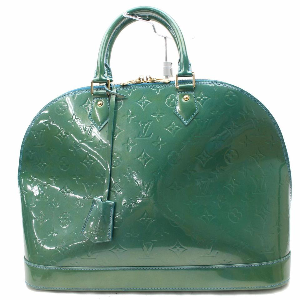 d7168e4bfc7d Louis Vuitton Alma Monogram Vernis Gm 867910 Green Patent Leather Satchel