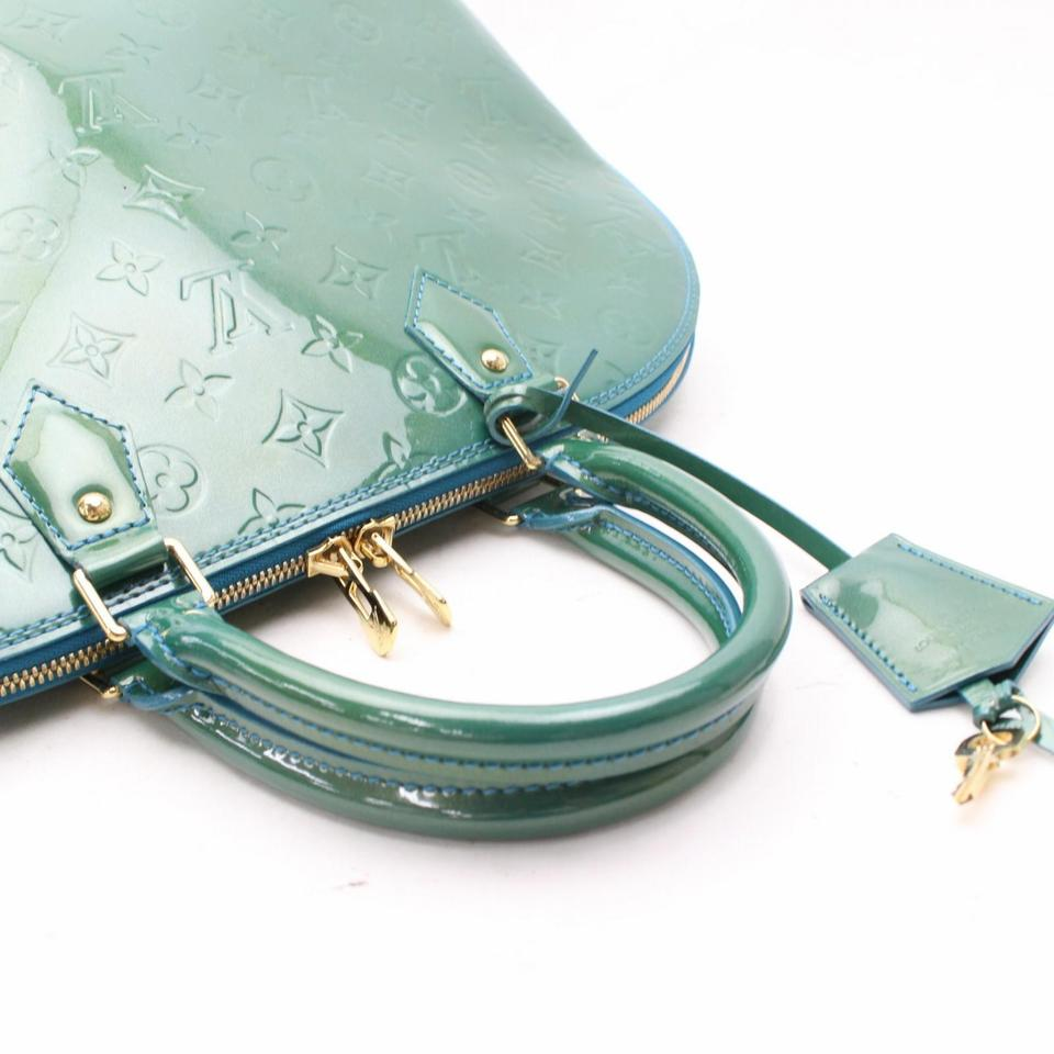 d2a33583fde3 Louis Vuitton Alma Monogram Vernis Gm 867910 Green Patent Leather Satchel