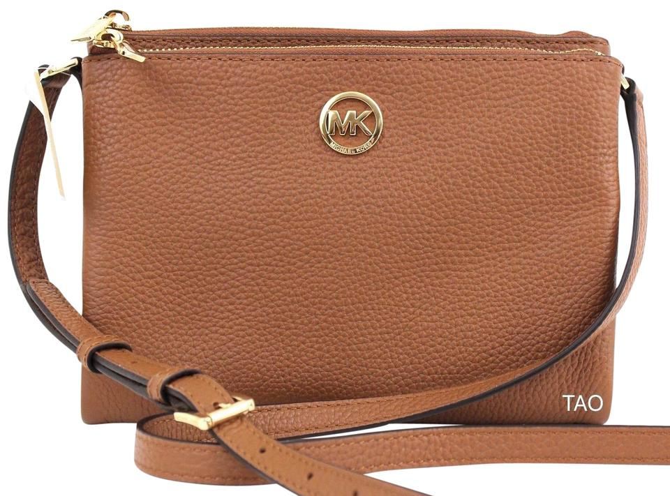 203e2d3953c70f Michael Kors Large Fulton East West Luggage Leather Cross Body Bag ...