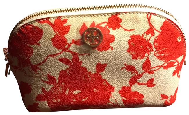 Tory Burch Red and Cream Dome Shaped Cosmetic Bag Tory Burch Red and Cream Dome Shaped Cosmetic Bag Image 1