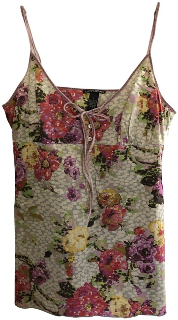 Item - Multicolor Floral Print Woven with Velvet Straps Tank Top/Cami Size 4 (S)