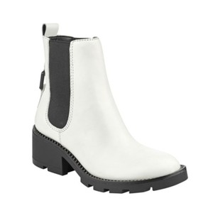 Kendall + Kylie White Leather Black Detailing & Sole Boots