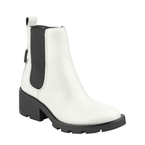 Kendall + Kylie White Leather & Black Detailing & Sole Boots