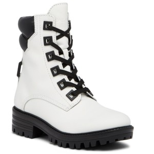 Kendall + Kylie White Leather Lace Up Black Detailing & Sole Boots