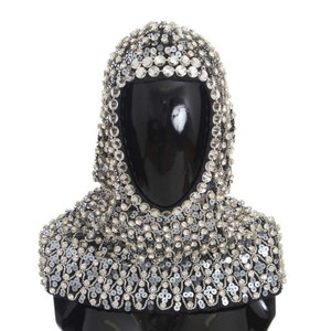 Dolce&Gabbana D32134 Women's Gray Wool Crystal Sequined Hood Scarf Hat - item med img