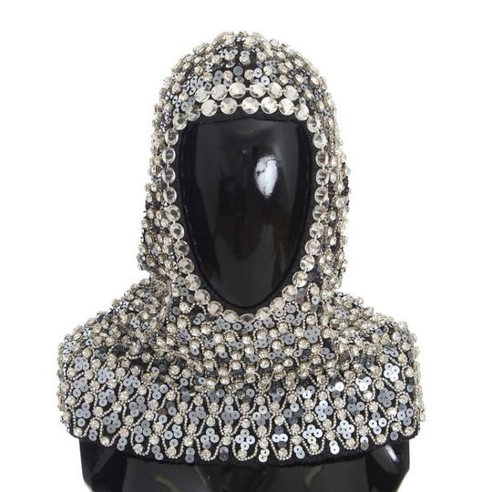 Dolce&Gabbana D32134 Women's Gray Wool Crystal Sequined Hood Scarf Hat