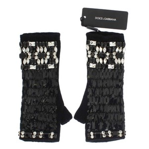 Dolce&Gabbana D65-1 Women's Black Cashmere Crystal Finger Less Gloves (Small)