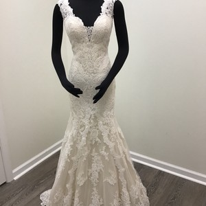Stella York Ivory/Porcelain/Café/Moscato Lace Tulle Lavish Satin Style 6418 Sexy Wedding Dress Size 8 (M)