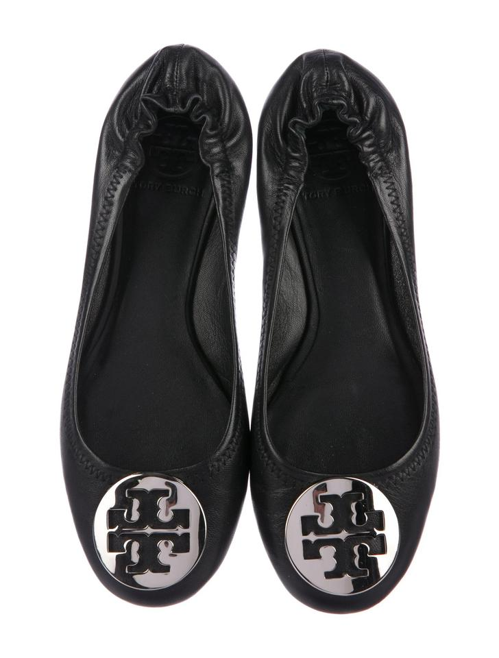 fd2da1069011 Tory Burch Black Silver New Leather Reva Logo Ballet Flats Size US ...