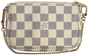 Louis Vuitton Lv Pochette Pochette Damier Canvas Mini Wristlet in White
