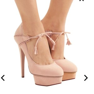 Charlotte Olympia Ultra High Heels Blush Suede Platforms