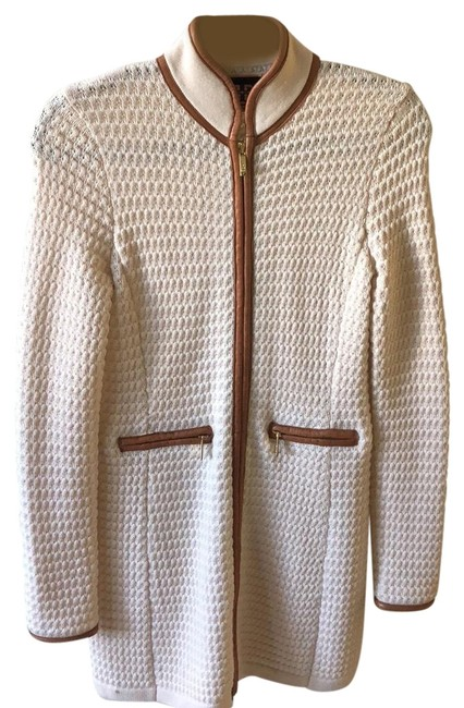 Item - Cream Wool Leather Sweater with Zipper Jacket Size 0 (XS)